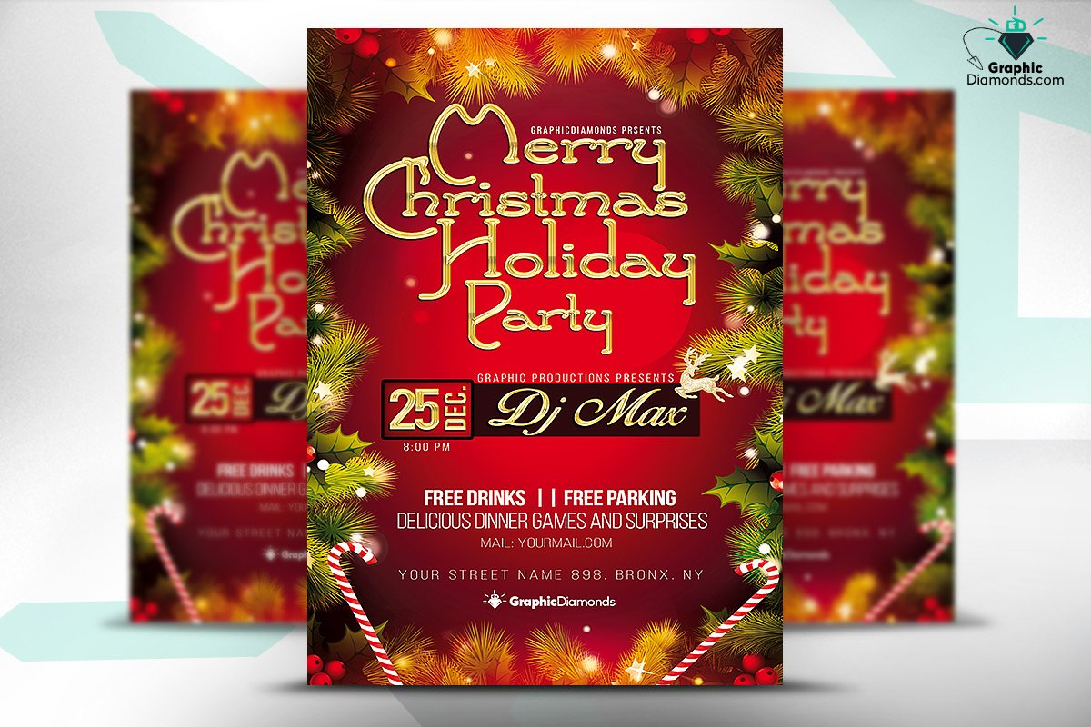 merry christmas holiday party flyer flyer templates on creative merry christmas holiday party flyer flyer templates on creative market