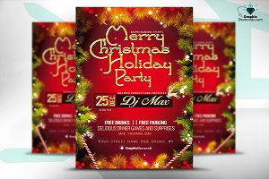Merry Christmas Holiday Party Flyer