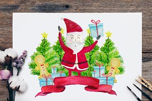 Christmas Set Clipart, Santa