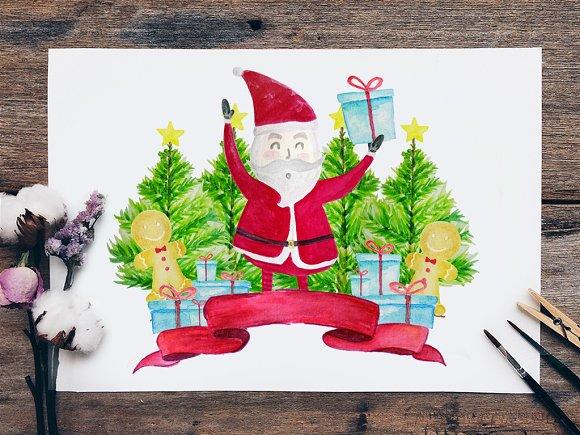 Christmas Set Clipart, Santa
