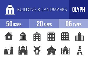 50 Buildings & Landmarks Glyph Icons