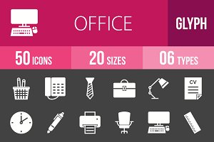 50 Office Glyph Inverted Icons