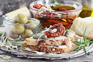 Mediterranean appetizers plate