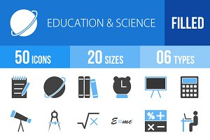 50 Education & Science Blue & Black