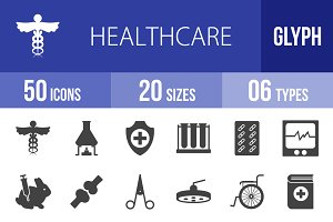50 Healthcare Glyph Icons