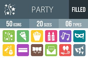 50 Party Flat Round Corner Icons