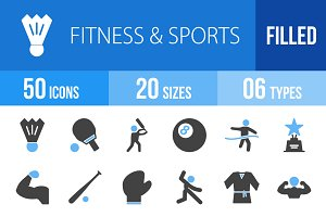 50 Fitness & Sports Blue&Black Icons