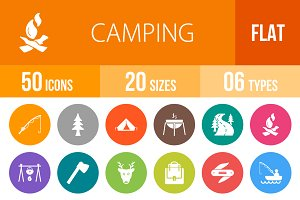 50 Camping Flat Round Icons