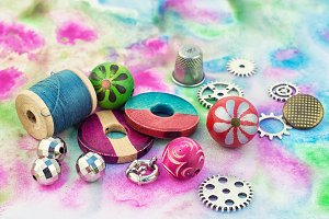 Floss and trinkets for needlework