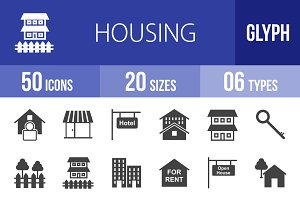 50 Housing Glyph Icons