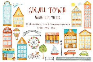 Watercolor small town.