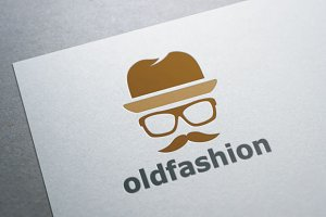 Old Fashion Mustache Man Logo