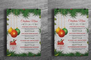 Christmas party menu template-V105