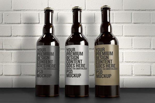 The 3 Beer Bottles Mockup