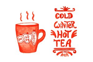 Hot winter drinks collection
