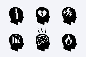 Depression, stress concept icons