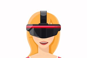Woman in virtual reality glasses