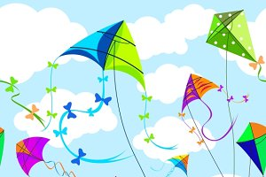 Kites and sky with clouds background
