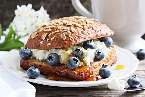Sandwich with cheese and blueberry