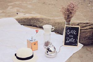 Save the date in coffee theme