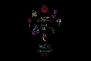 Calendar 2016. Neon sign.