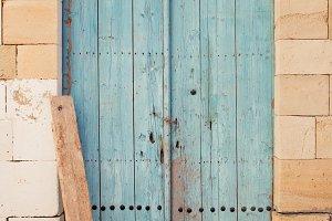Blue wooden cyprus door