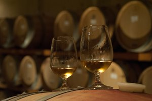 Two glasses Icewine on barrel