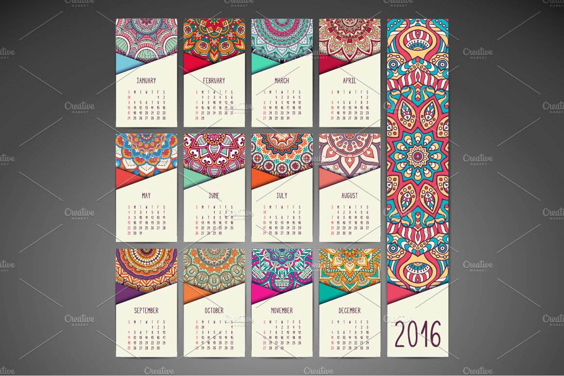 Calendar in ethnic style 2016 year business card templates calendar in ethnic style 2016 year business card templates creative market reheart Image collections