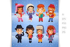 Cartoon Characters in Winter Clothes