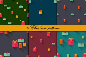 Six seamlss patterns with gifts