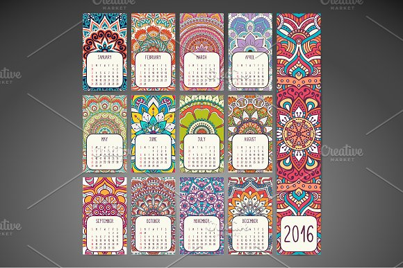 Calendar in ethnic style. 2016 year - Business Cards