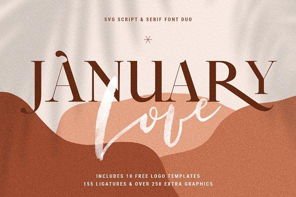 January Love Svg Font Duo Logos Stunning Script Fonts Creative Market