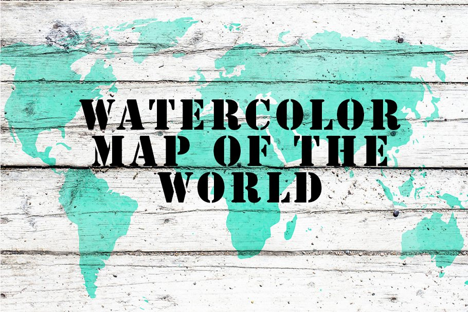 Watercolor map of the world.Vector