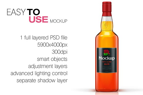Download Whisky / Rum / Brandy Mockup Vol  3 - FREE Facebook