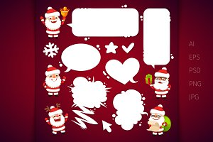 Santa Clauses with a Speech Bubbles