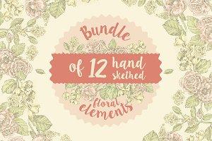 12 handsketched flower elements