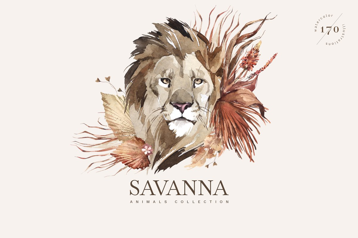 """SAVANNA"" Watercolor animals set in Illustrations"