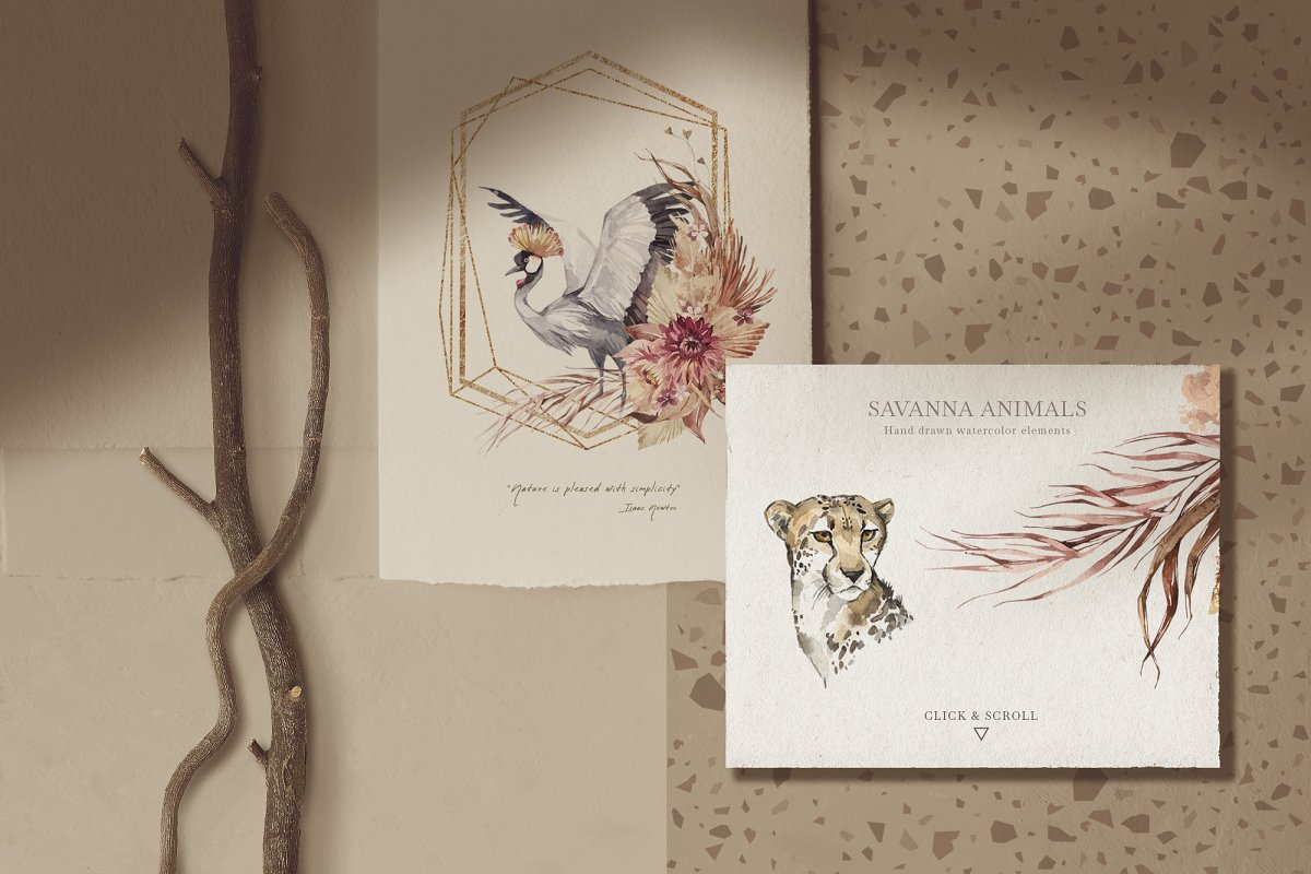 """SAVANNA"" Watercolor animals set in Illustrations - product preview 1"