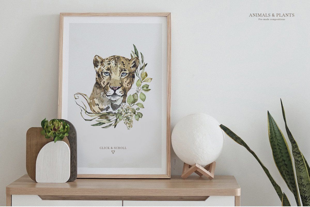 """SAVANNA"" Watercolor animals set in Illustrations - product preview 9"