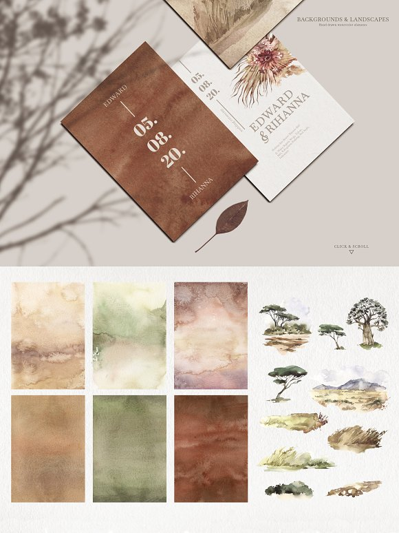 """SAVANNA"" Watercolor animals set in Illustrations - product preview 11"