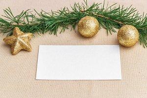 Mockup. Business card Christmas ball