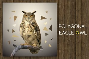 Polygonal eagle owl. Vector illustra