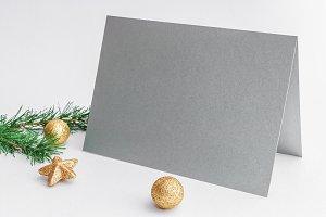 Mockup. Silver card, Christmas balls