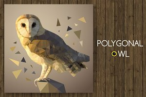 Polygonal owl. Vector illustration