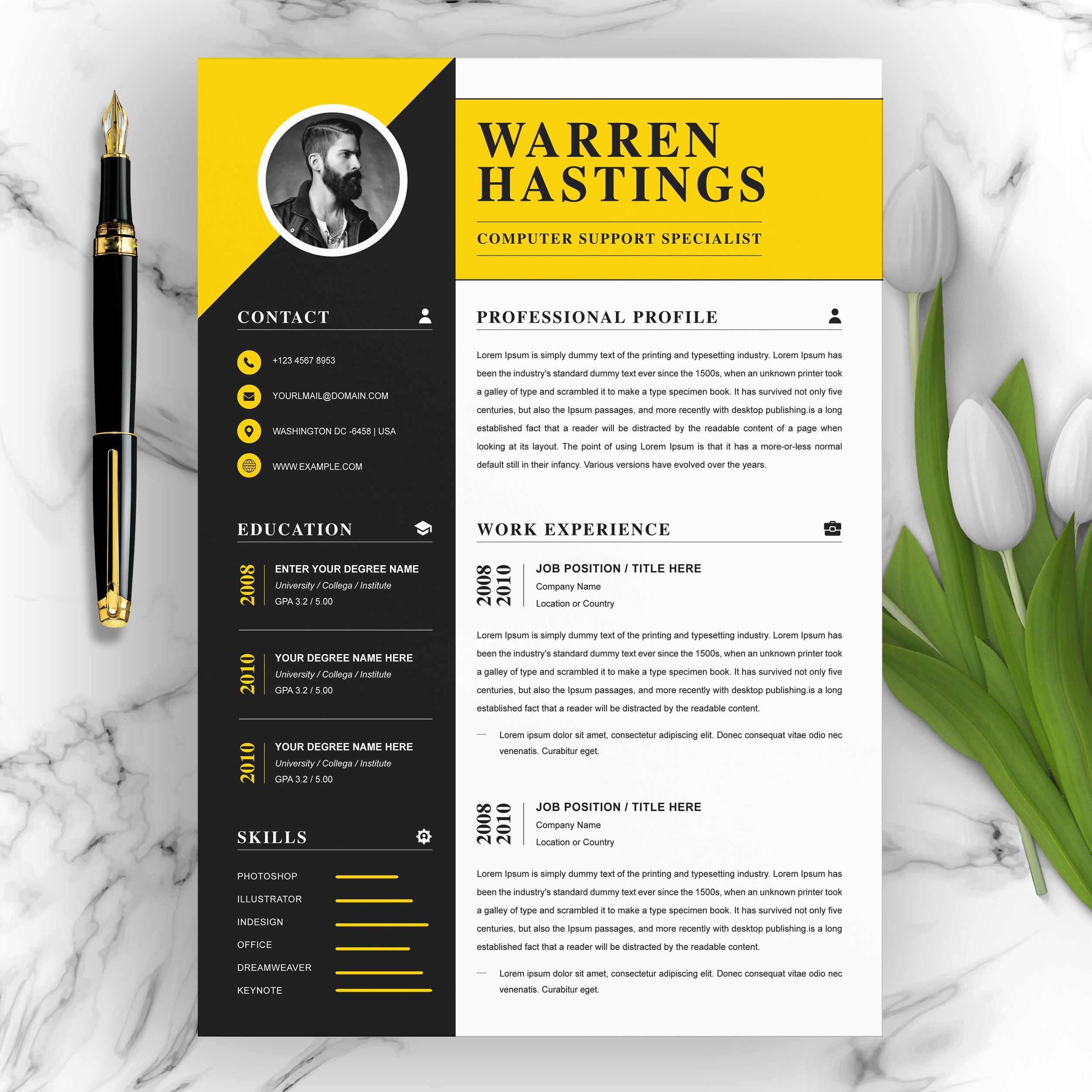 professional resume instant download  creative