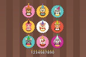 Birthday Party Cute Animals Clip Art
