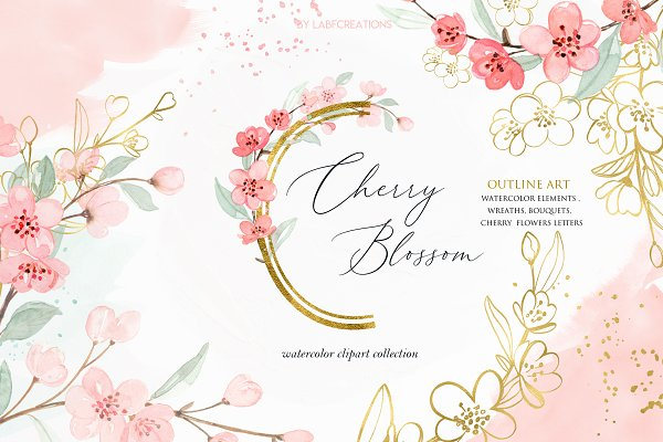 Cherry Blossom Watercolor flowers