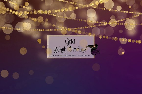 Gold Bokeh Overlays in Illustrations - product preview 3