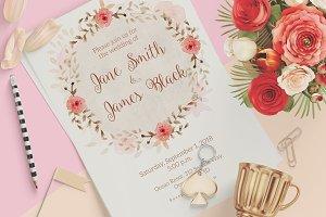 Light Pink Wedding Invitation