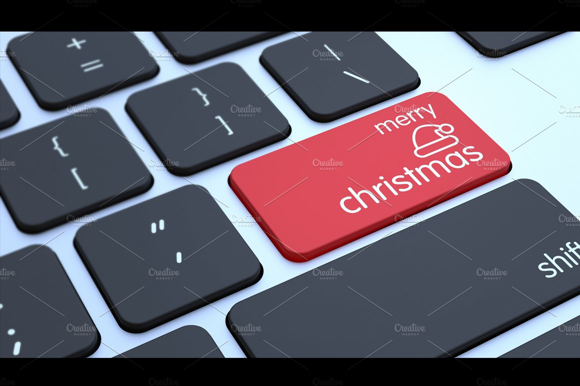 Computer Keyboard With Christmas Key Illustrations Creative Market
